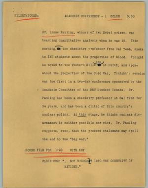 Primary view of object titled '[News Script: Academic conference]'.