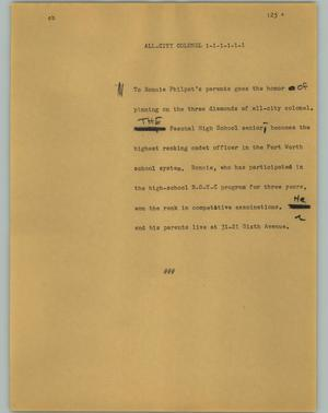 Primary view of object titled '[News Script: All-city colonel]'.
