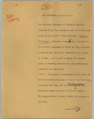Primary view of object titled '[News Script: Dav Commander]'.