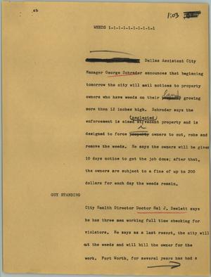 Primary view of object titled '[News Script: Weeds]'.