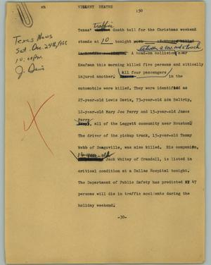 Primary view of object titled '[News Script: Violent deaths]'.