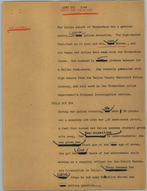 Primary view of object titled '[News Script: Lady cop]'.