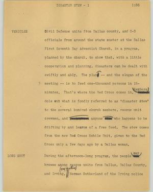 Primary view of object titled '[News Script: Disaster stew]'.