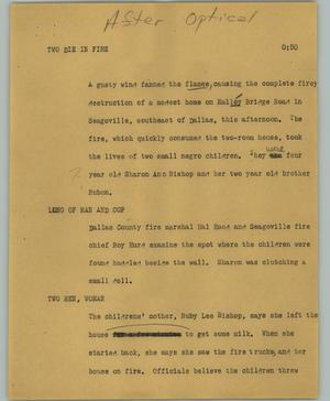 Primary view of object titled '[News Script: Two die in fire]'.