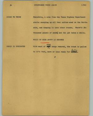 Primary view of object titled '[News Script: Overturned truck]'.