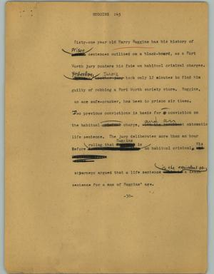 Primary view of object titled '[News Script: Huggins]'.