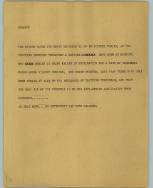 Primary view of object titled '[News Script: Strikes]'.