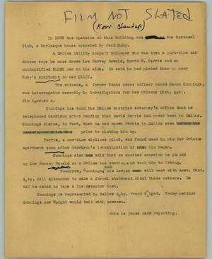 Primary view of object titled '[News Script: Cummings]'.