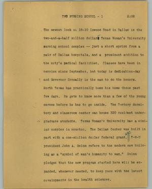 Primary view of object titled '[News Script: TWU nursing school]'.