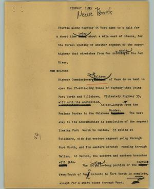 Primary view of object titled '[News Script: Highway]'.