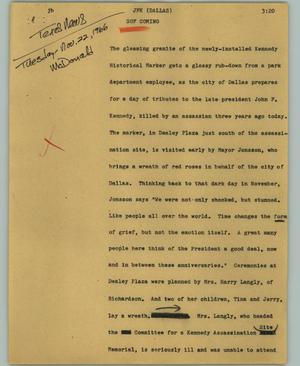 Primary view of object titled '[News Script: JFK (Dallas)]'.