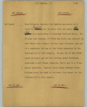 Primary view of object titled '[News Script: Jim Vachule]'.