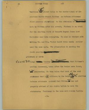 Primary view of object titled '[News Script: Pittman trial]'.