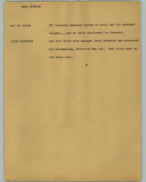 Primary view of object titled '[News Script: News opening]'.