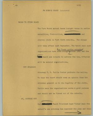Primary view of object titled '[News Script: FW school board]'.