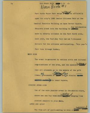 Primary view of object titled '[News Script: Old folks fair]'.