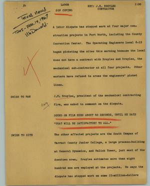 Primary view of object titled '[News Script: Labor]'.