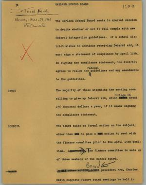 Primary view of object titled '[News Script: Garland school board]'.