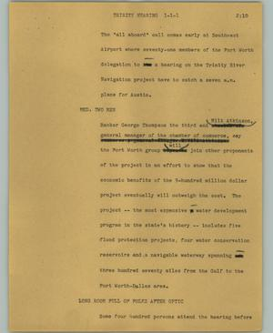 Primary view of object titled '[News Script: Trinity hearing]'.