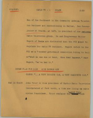 Primary view of object titled '[News Script: Cable TV]'.