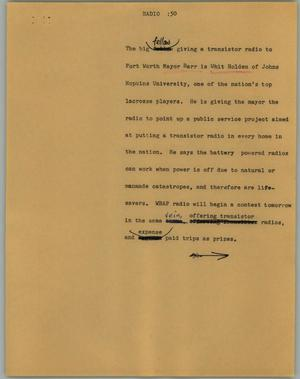 Primary view of object titled '[News Script: Radio]'.