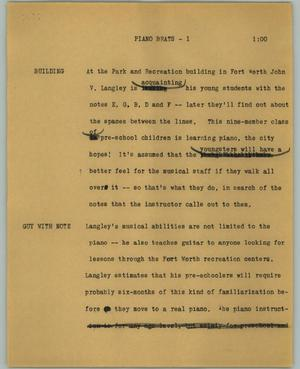 Primary view of object titled '[News Script: Piano brats]'.