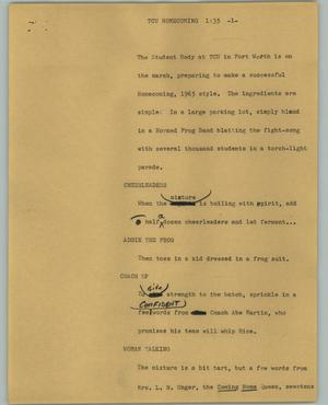 Primary view of object titled '[News Script: TCU Homecoming]'.