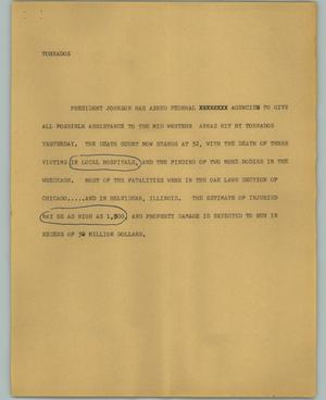 Primary view of object titled '[News Script: Tornados]'.