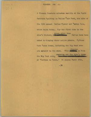 Primary view of object titled '[News Script: Flowers]'.