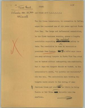Primary view of object titled '[News Script: Air Force Assn]'.