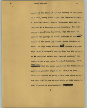 Primary view of object titled '[News Script: Labor meeting]'.