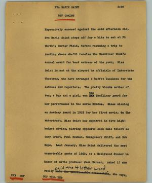 Primary view of object titled '[News Script: Eva Marie Saint]'.