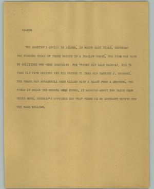 Primary view of object titled '[News Script: Gilmer]'.