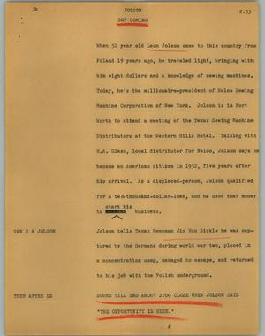 Primary view of object titled '[News Script: Jolson]'.