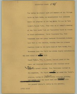 Primary view of object titled '[News Script: Recreation board]'.