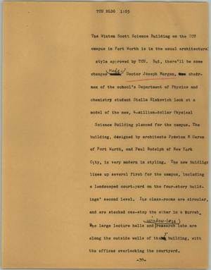 Primary view of object titled '[News Script: TCU bldg]'.