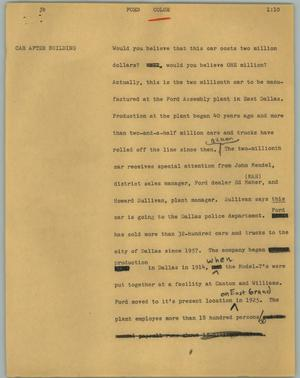 Primary view of object titled '[News Script: Ford]'.