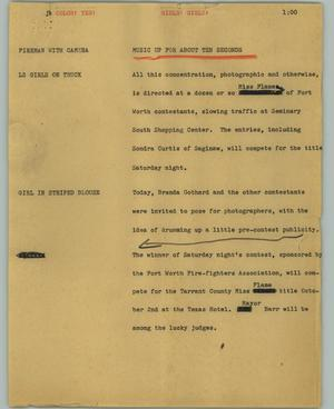 Primary view of object titled '[News Script: Girls! Girls!]'.
