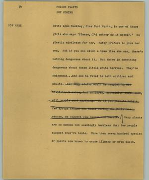 Primary view of object titled '[News Script: Poison plants]'.