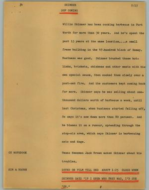 Primary view of object titled '[News Script: Skinner]'.