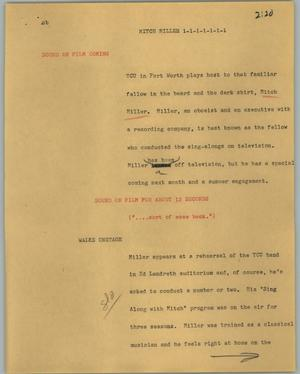 Primary view of object titled '[News Script: Mitch Miller]'.