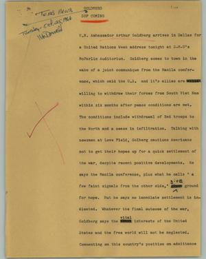Primary view of object titled '[News Script: Goldberg]'.