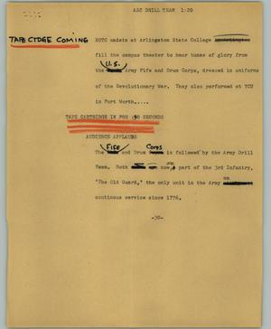 Primary view of object titled '[News Script: ASC drill team]'.