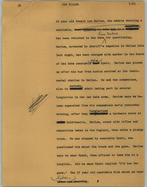 Primary view of object titled '[News Script: Cop killer]'.