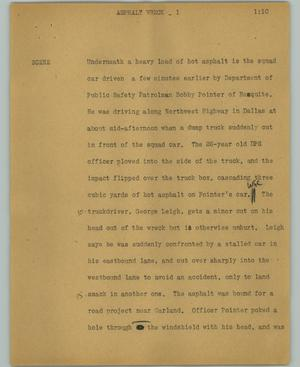 Primary view of object titled '[News Script: Asphalt work]'.