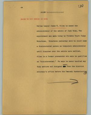 Primary view of object titled '[News Script: Allen]'.