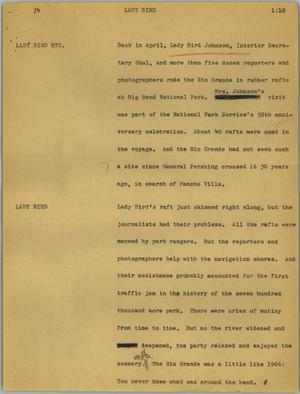 Primary view of object titled '[News Script: Lady Bird]'.