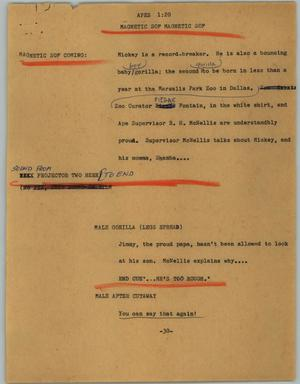 Primary view of object titled '[News Script: Apes]'.
