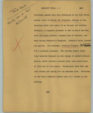 Primary view of object titled '[News Script: Bramlett trial]'.