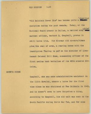 Primary view of object titled '[News Script: Old soldier]'.